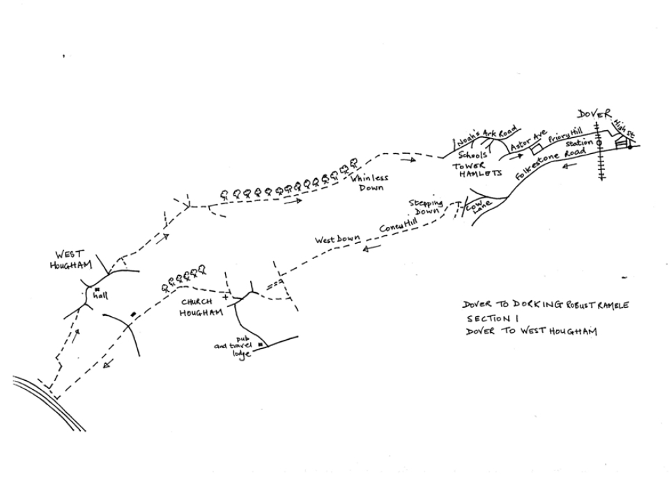 Map of Dover To Dorking Robust Ramble: Section 1 (return)