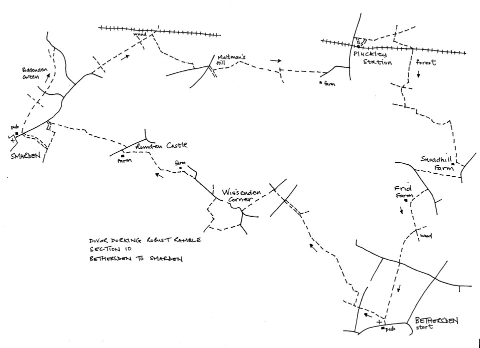 Map of Dover To Dorking Robust Ramble: Section 10 (return)