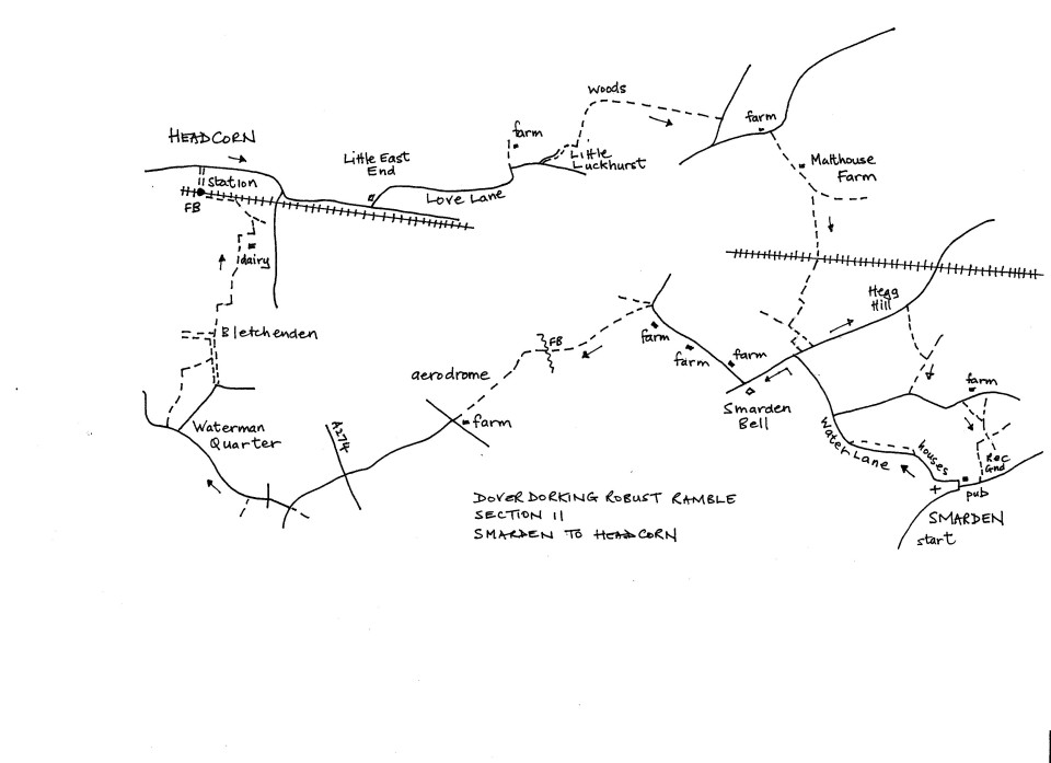 Map of Dover To Dorking Robust Ramble: Section 11 (return)