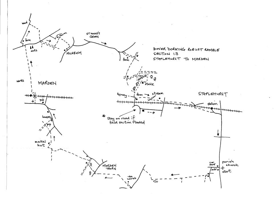 Map of Dover To Dorking Robust Ramble: Section 13 (out)
