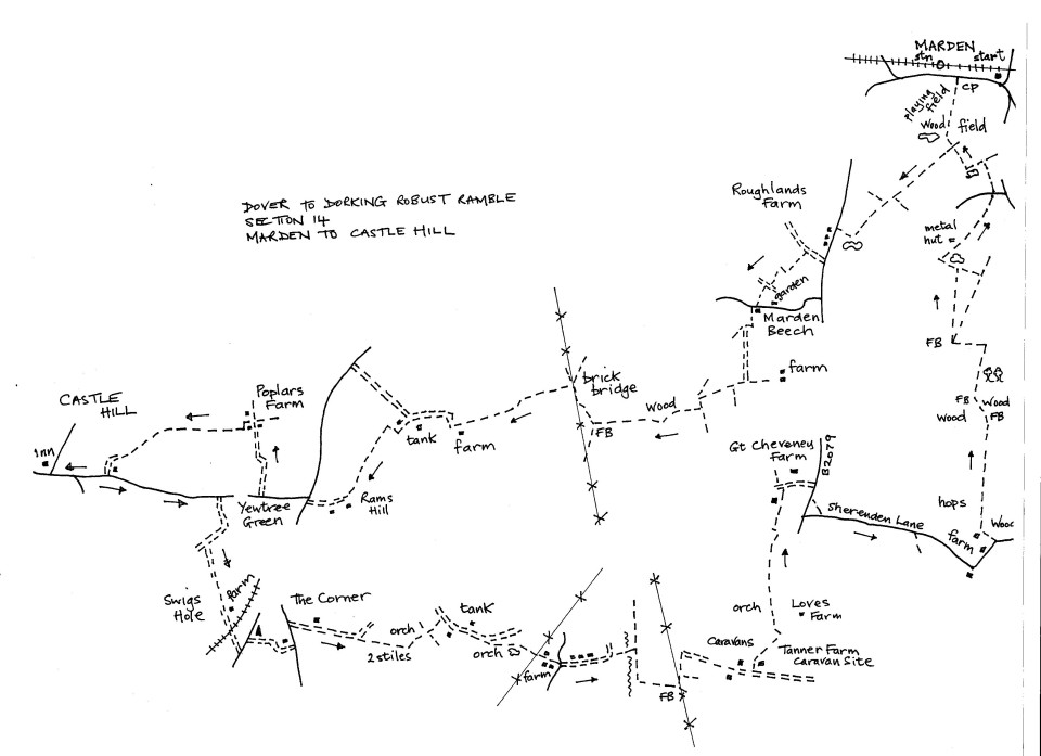 Map of Dover To Dorking Robust Ramble: Section 14 (out)