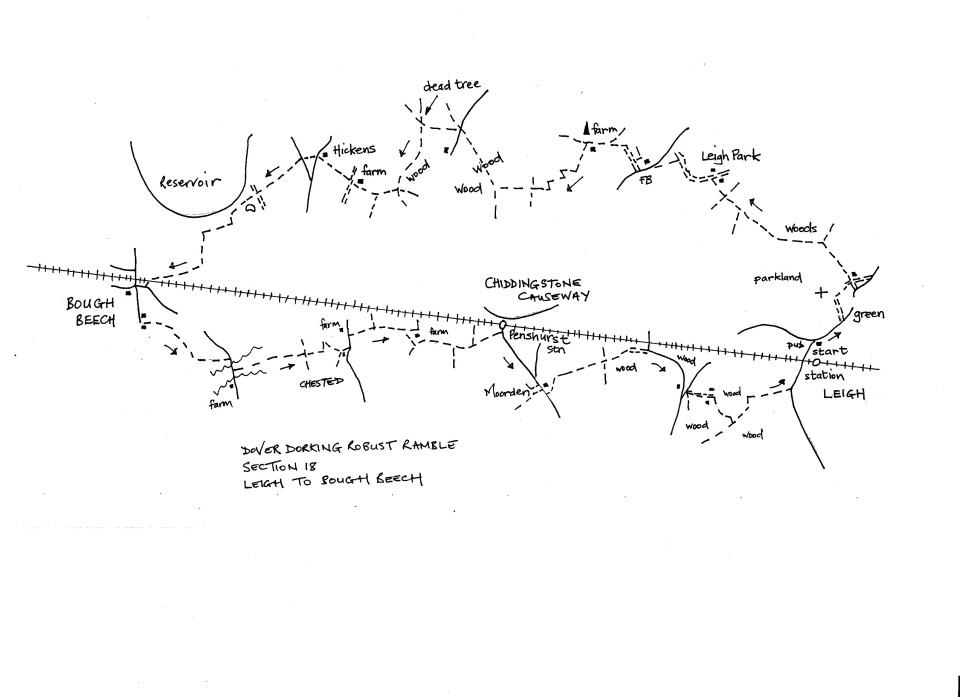 Map of Dover To Dorking Robust Ramble: Section 18 (return)