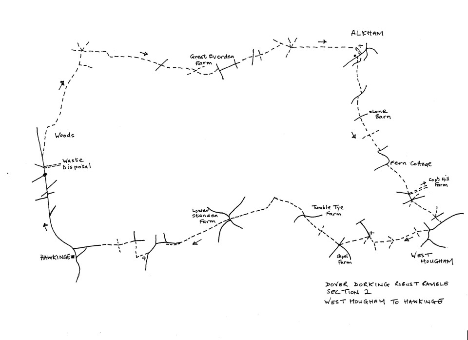 Map of Dover To Dorking Robust Ramble: Section 2 (return)
