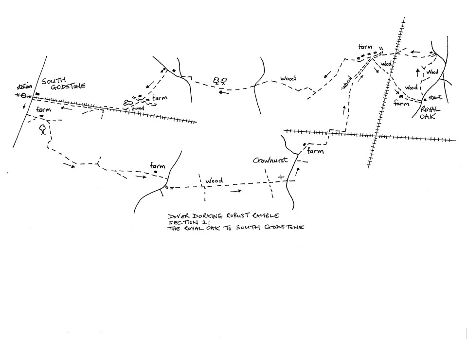 Map of Dover To Dorking Robust Ramble: Section 21 (return)