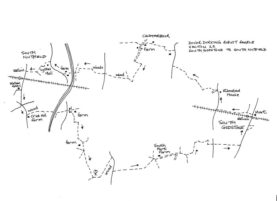 Map of Dover To Dorking Robust Ramble: Section 22 (out)
