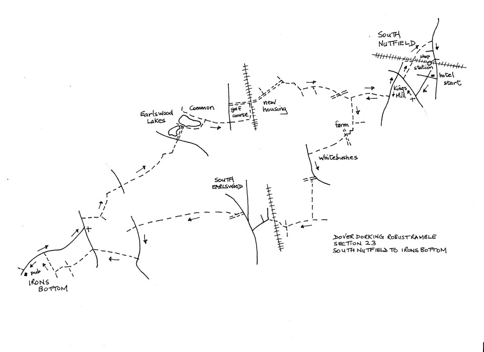 Map of Dover To Dorking Robust Ramble: Section 23 (return)