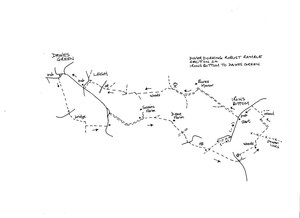 Map of Dover To Dorking Robust Ramble: Section 24 (return)