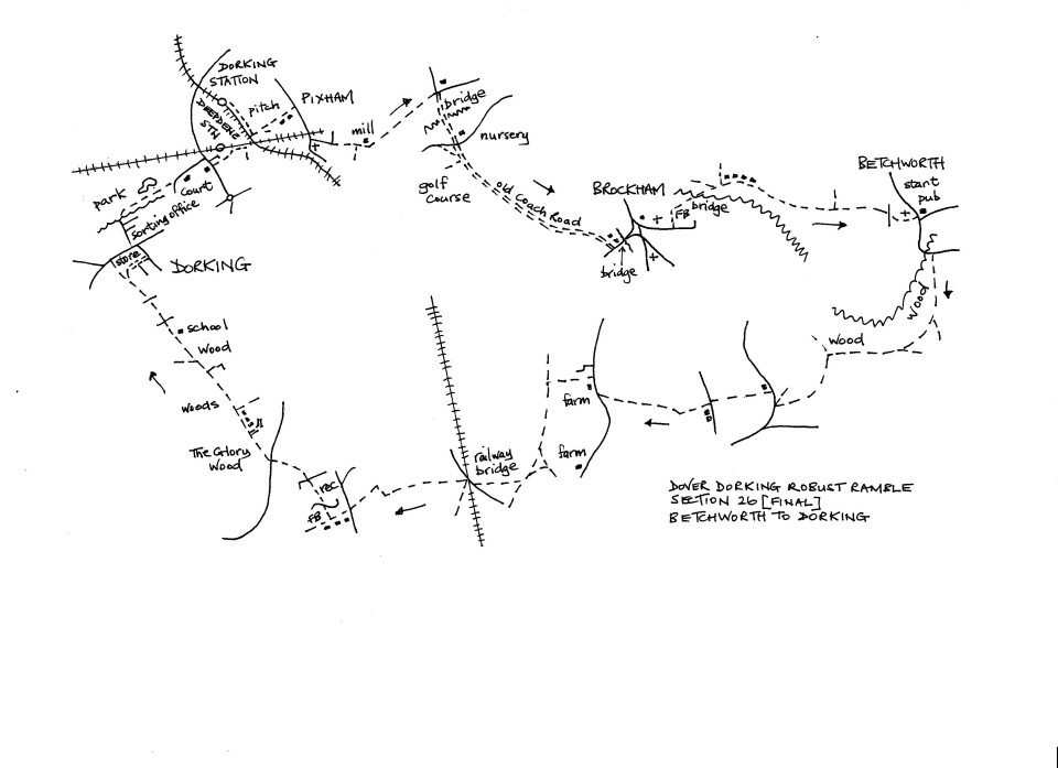 Map of Dover To Dorking Robust Ramble: Section 26 (return)
