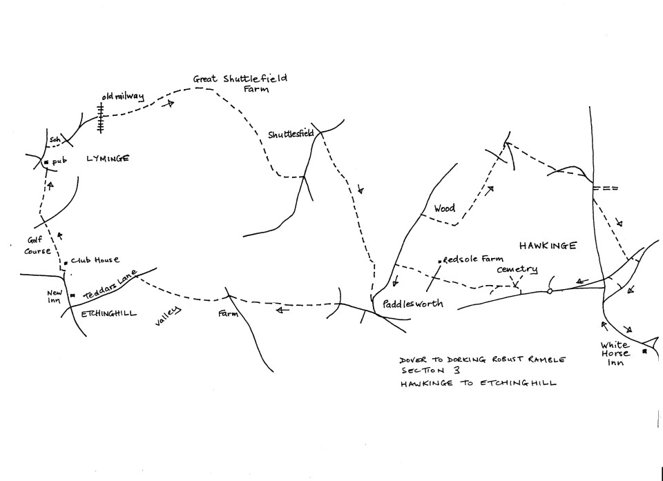 Map of Dover To Dorking Robust Ramble: Section 3 (return)