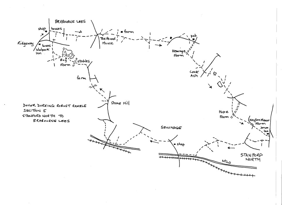 Map of Dover To Dorking Robust Ramble: Section 5 (out)