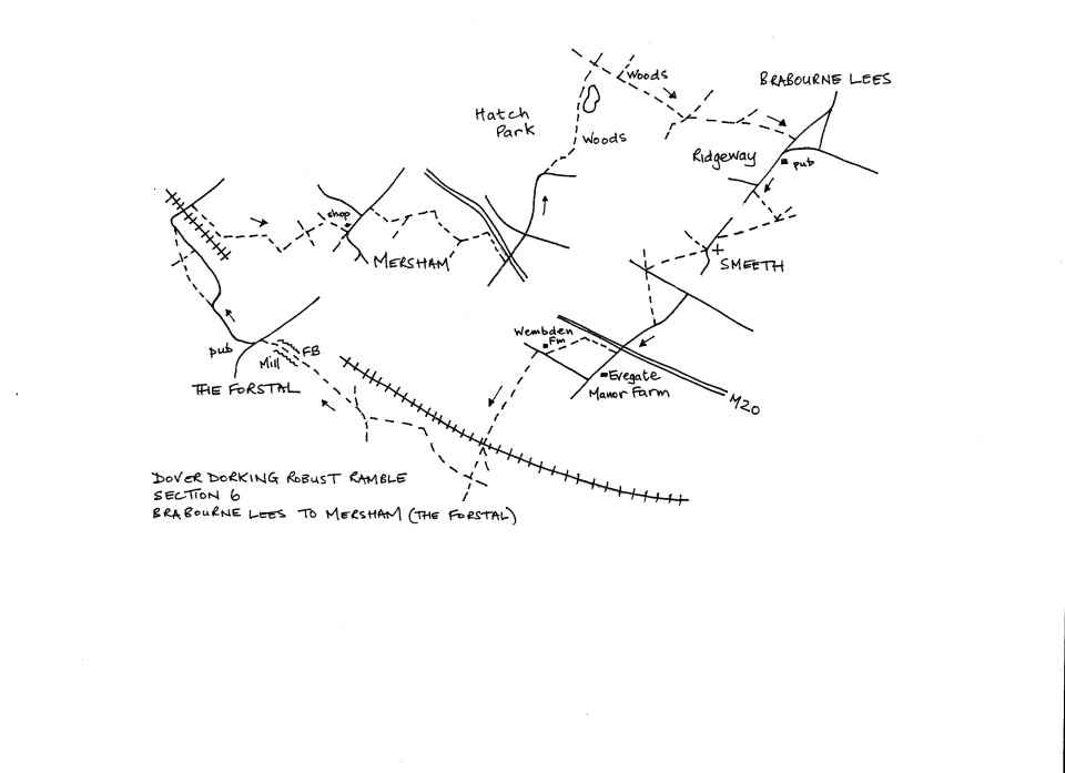Map of Dover To Dorking Robust Ramble: Section 6 (return)