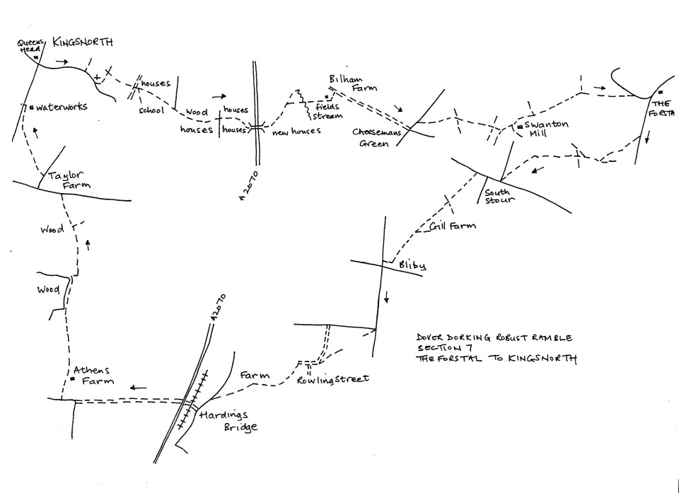 Map of Dover To Dorking Robust Ramble: Section 7 (return)