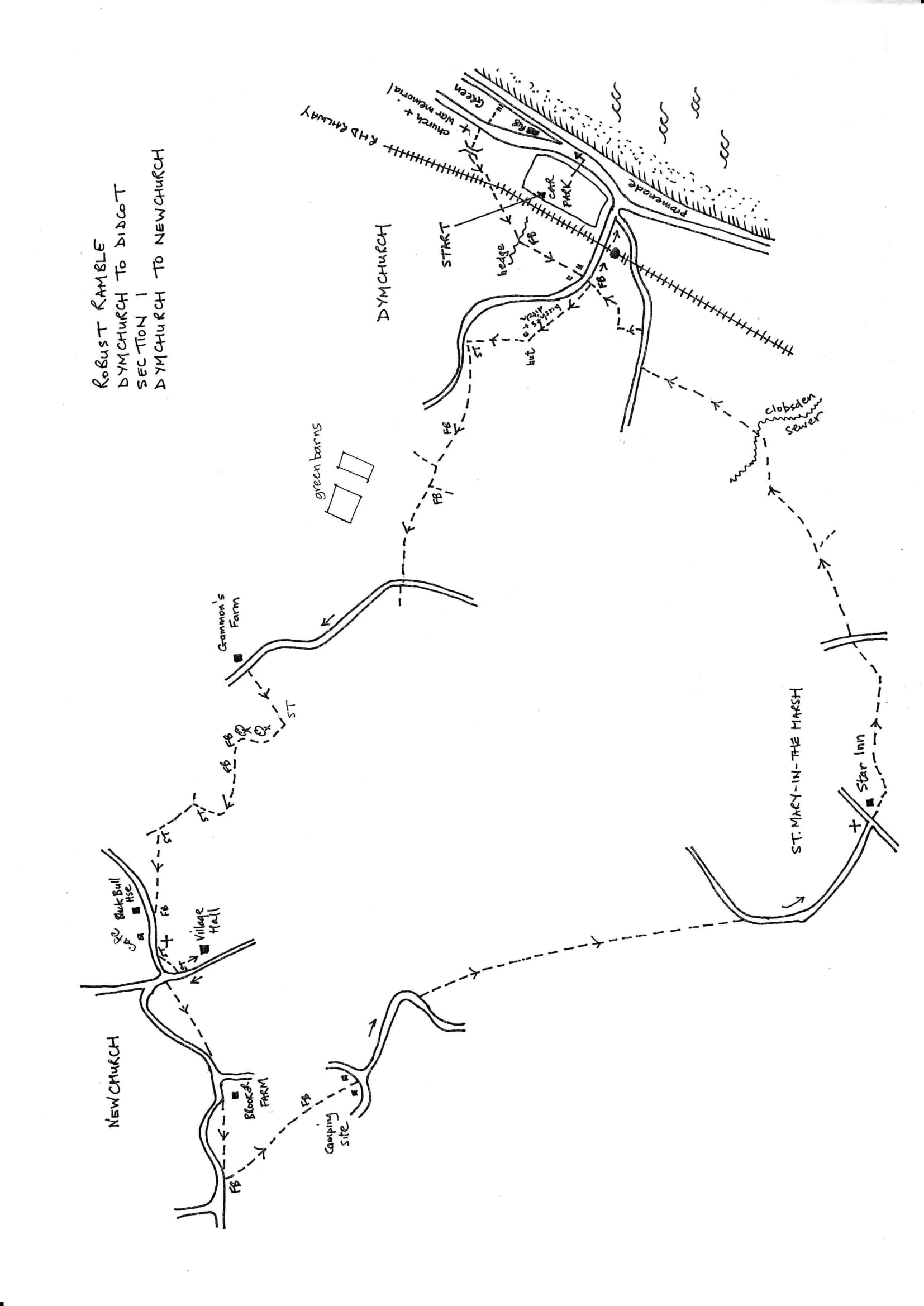 Map of Dymchurch To Didcot Robust Ramble: Section 1 Out