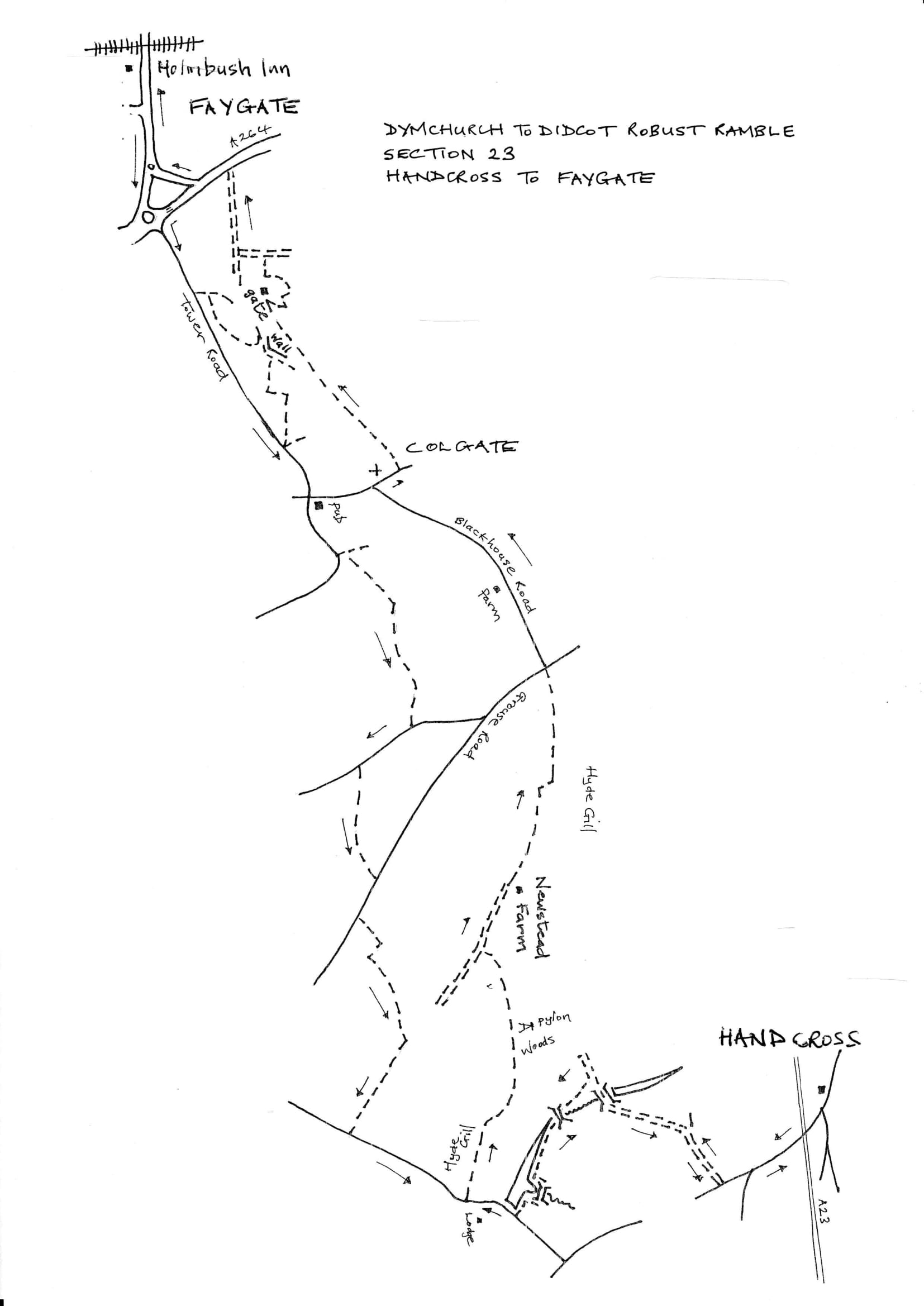 Map of Dymchurch To Didcot Robust Ramble: Section 23 Return