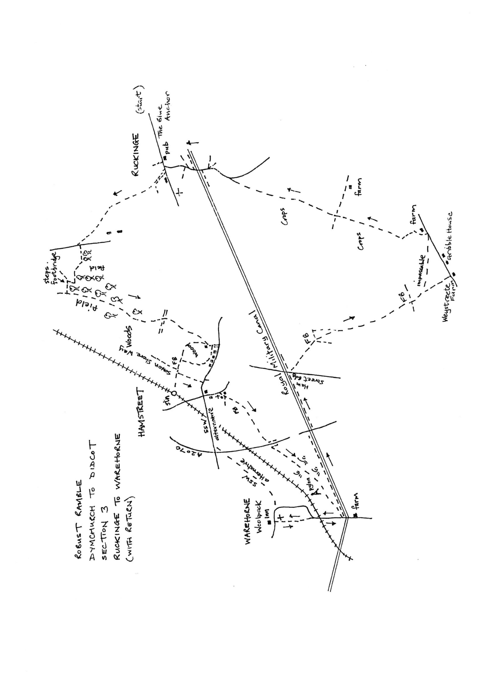 Map of Dymchurch To Didcot Robust Ramble: Section 3 Out