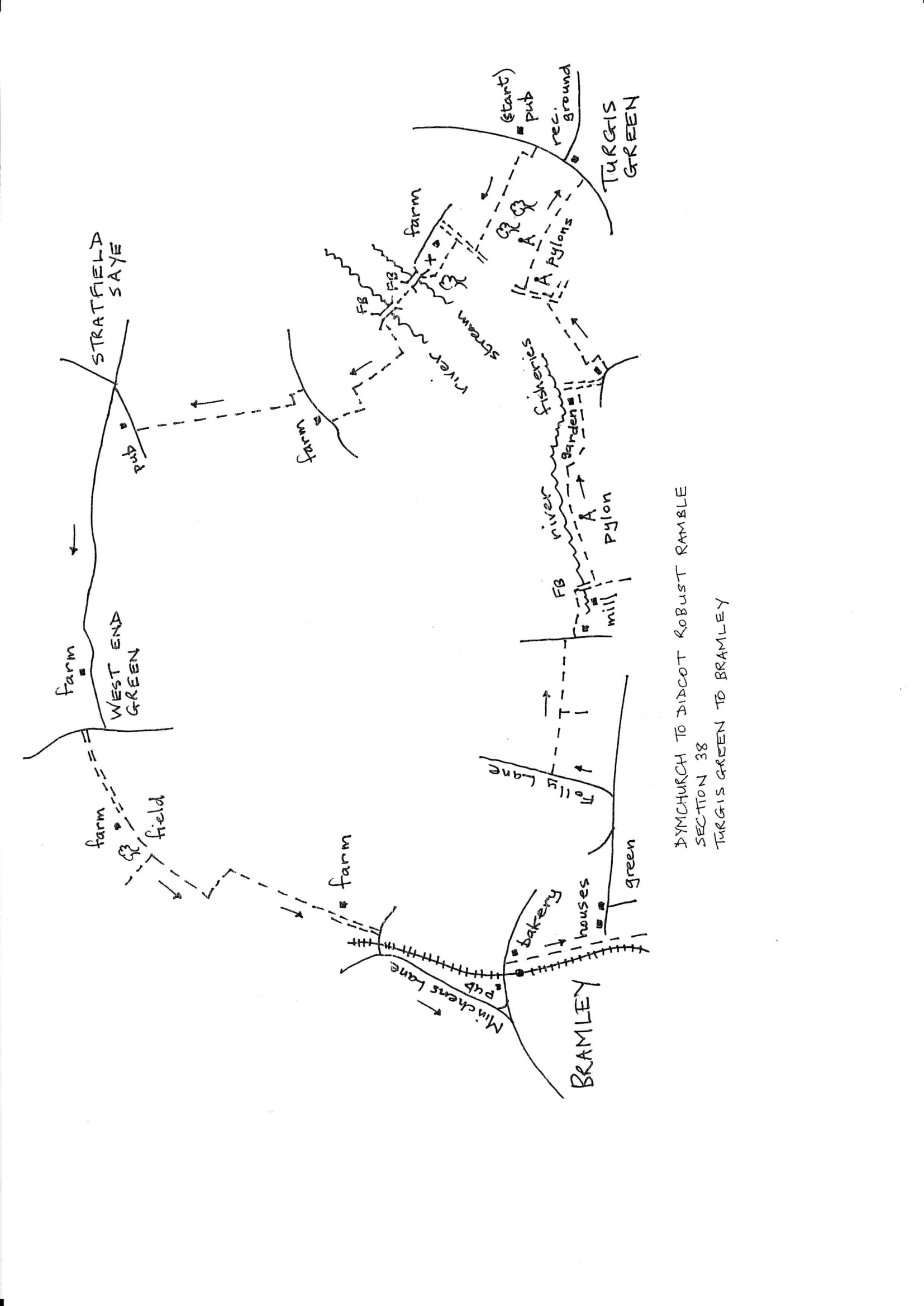 Map of Dymchurch To Didcot Robust Ramble: Section 38 Out